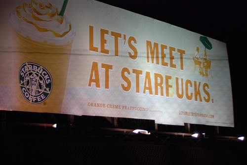 Billboard - Starbucks Vandalized