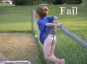 Boy Stuck on Fence Fail