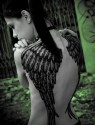 Pretty Girl with Angel Wings Tattoo