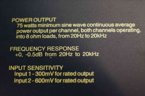 McIntosh MXA60 Power Output Label