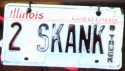 Funny License Plates - 2 Skank