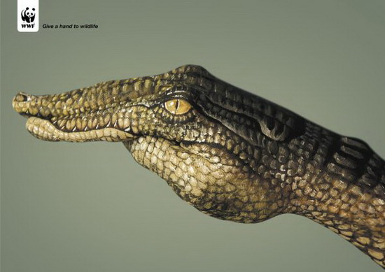 WWF: Crocodile Painted Hand Ad