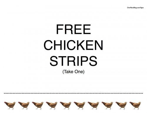 Funny Sign - Free Chicken Strips