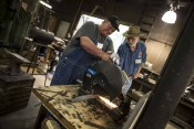 Mike Ruth and Mike Williams Cutting Steel